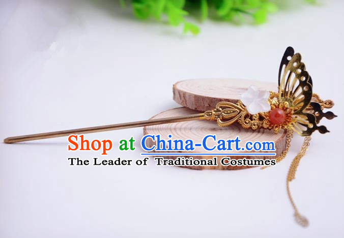 Chinese Traditional Hair Accessories Ancient Bride Hairpins Butterfly Tassel Hair Clip for Women