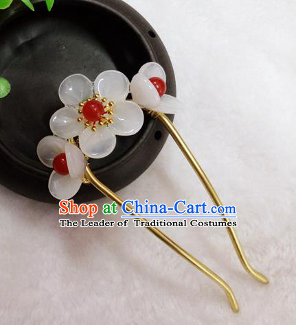 Chinese Traditional Hair Accessories Ancient Bride Hairpins White Flowers Hair Clip for Women