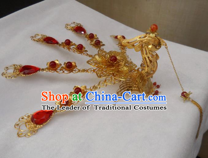 Chinese Traditional Hair Accessories Ancient Bride Hairpins Phoenix Tassel Hair Clip for Women