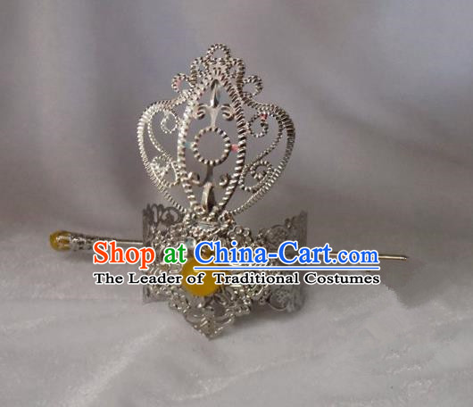 Chinese Traditional Ancient Prince Yellow Bead Tuinga Hair Accessories Swordsman Hairpins for Men