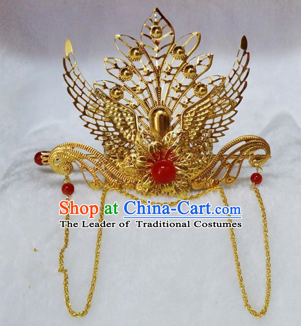 Chinese Traditional Hair Accessories Ancient Bride Hairpins Red Beads Phoenix Coronet for Women