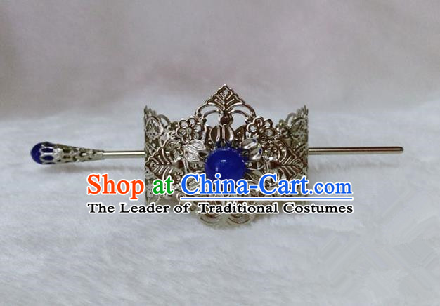 Chinese Traditional Ancient Prince Hair Accessories Swordsman Hairpins Blue Bead Tuinga for Men