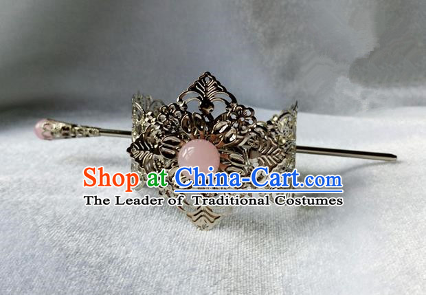 Chinese Traditional Ancient Prince Hair Accessories Swordsman Hairpins Pink Bead Tuinga for Men