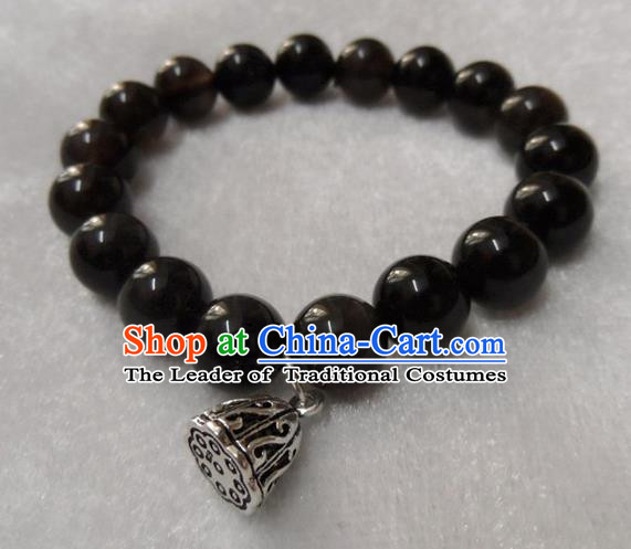Handmade Chinese Black Beads Bracelet Traditional Bangle for Women