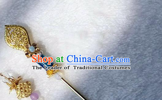Chinese Traditional Hair Accessories Ancient Brass Hairpins Bride Hair Clip for Women