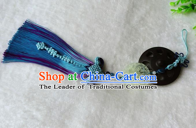 Handmade Chinese Ancient Jade Pendant Blue Tassel Waist Accessories for Women