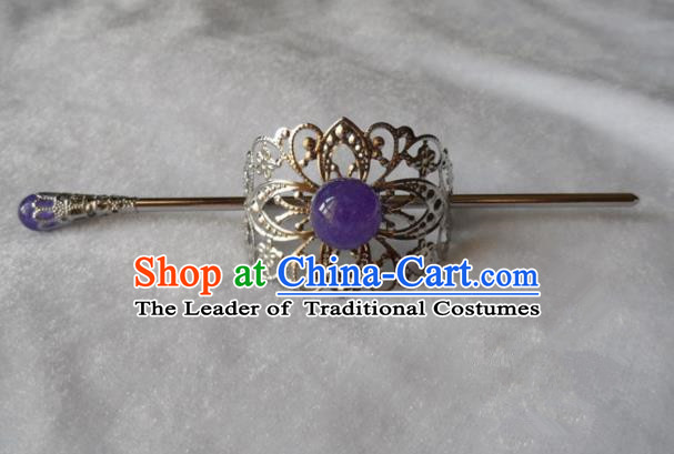 Chinese Traditional Ancient Handmade Purple Bead Hairdo Crown Hair Accessories Swordsman Hairpins for Men