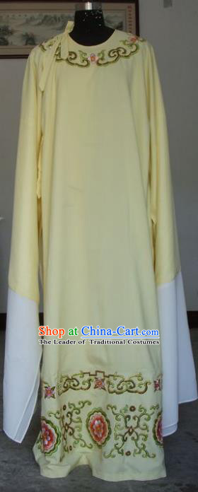 Chinese Traditional Shaoxing Opera Scholar Embroidered Yellow Robe Peking Opera Niche Costumes for Adults