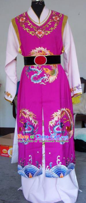 Chinese Traditional Shaoxing Opera Scholar Purple Clothing Peking Opera Niche Embroidered Costumes for Adults