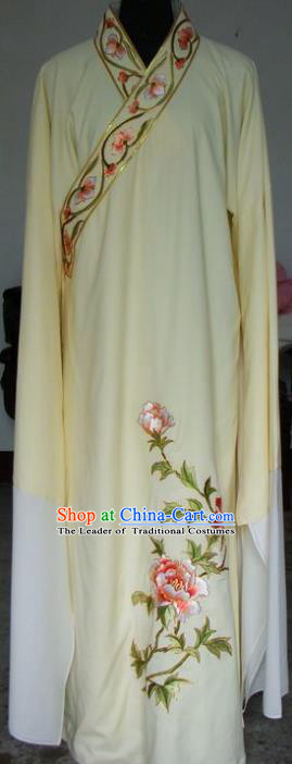 Chinese Traditional Shaoxing Opera Scholar Yellow Clothing Peking Opera Niche Embroidered Peony Costumes for Adults
