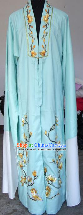 Chinese Traditional Shaoxing Opera Scholar Green Clothing Peking Opera Niche Embroidered Mangnolia Costumes for Adults