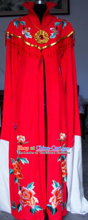 Chinese Traditional Beijing Opera Actress Embroidered Red Dress China Peking Opera Empress Costumes for Adults