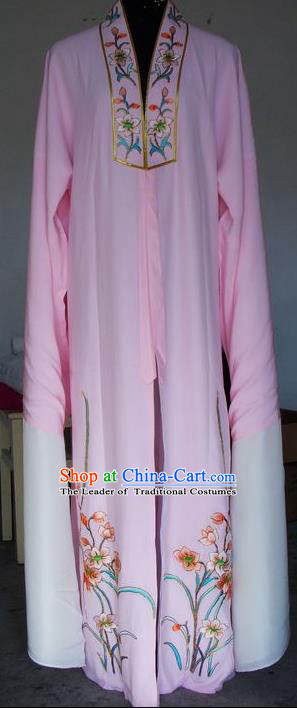 Chinese Traditional Shaoxing Opera Scholar Embroidered Pink Robe Peking Opera Niche Costumes for Adults