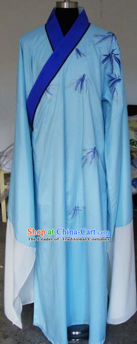 Chinese Traditional Shaoxing Opera Niche Clothing Peking Opera Scholar Printing Bamboo Blue Robe for Adults