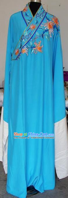 Chinese Traditional Shaoxing Opera Niche Embroidered Chrysanthemum Blue Robe Clothing Peking Opera Scholar Costume for Adults