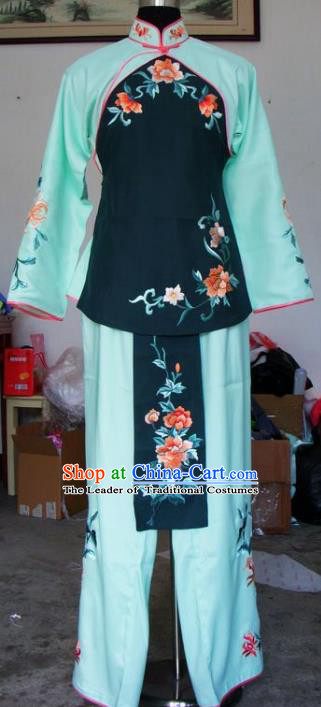 Chinese Traditional Beijing Opera Maidservants Embroidered Green Clothing China Peking Opera Costumes for Adults