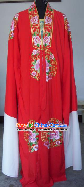 Chinese Traditional Shaoxing Opera Scholar Embroidered Peony Red Robe Peking Opera Niche Costumes for Adults
