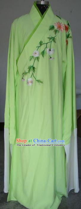Chinese Traditional Shaoxing Opera Scholar Embroidered Green Robe Peking Opera Niche Costumes for Adults