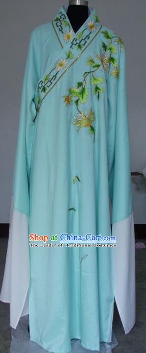 Chinese Traditional Shaoxing Opera Niche Embroidered Chrysanthemum Green Robe Clothing Peking Opera Scholar Costume for Adults