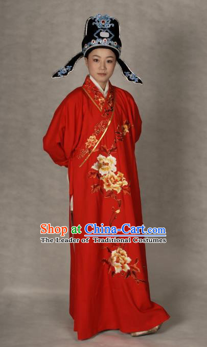 Chinese Traditional Shaoxing Opera Robe Peking Opera Niche Embroidered Red Costume for Adults