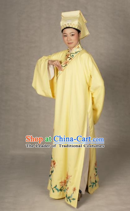 Chinese Traditional Shaoxing Opera Taoist Embroidered Yellow Robe Peking Opera Niche Costume for Adults