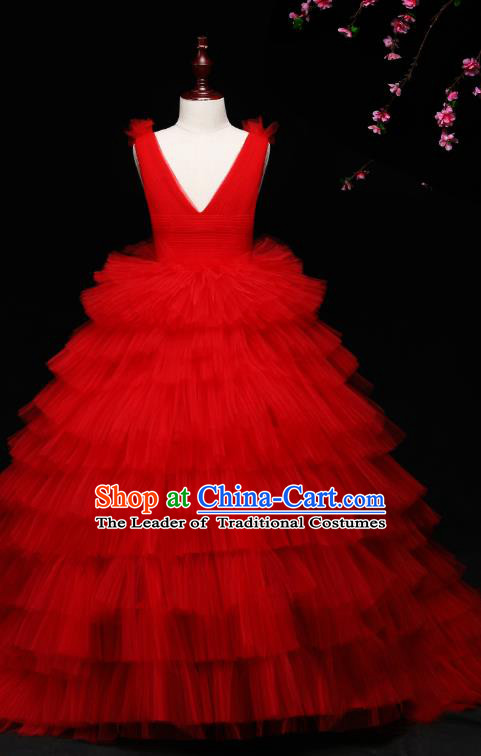 Children Modern Dance Costume Compere Full Dress Stage Piano Performance Red Veil Trailing Dress for Kids