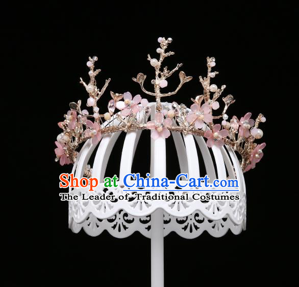 Children Modern Dance Hair Accessories Stage Performance Pink Flowers Hair Clasp for Kids