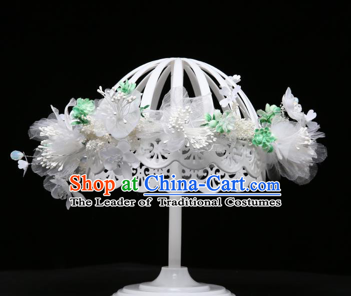 Children Modern Dance Hair Accessories Stage Performance White Flowers Hair Clasp for Kids