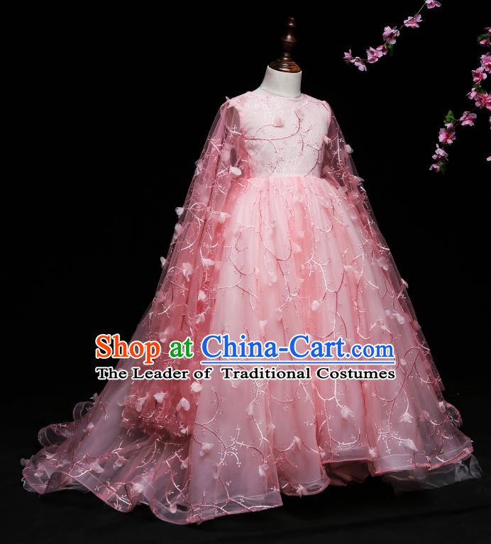 Children Modern Dance Costume Compere Pink Full Dress Stage Piano Performance Princess Dress for Kids