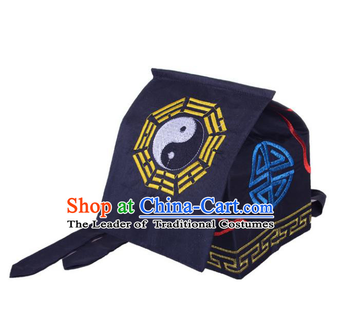 Chinese Traditional Martial Arts Taoist Tai Chi Navy Scarf Hat for Men