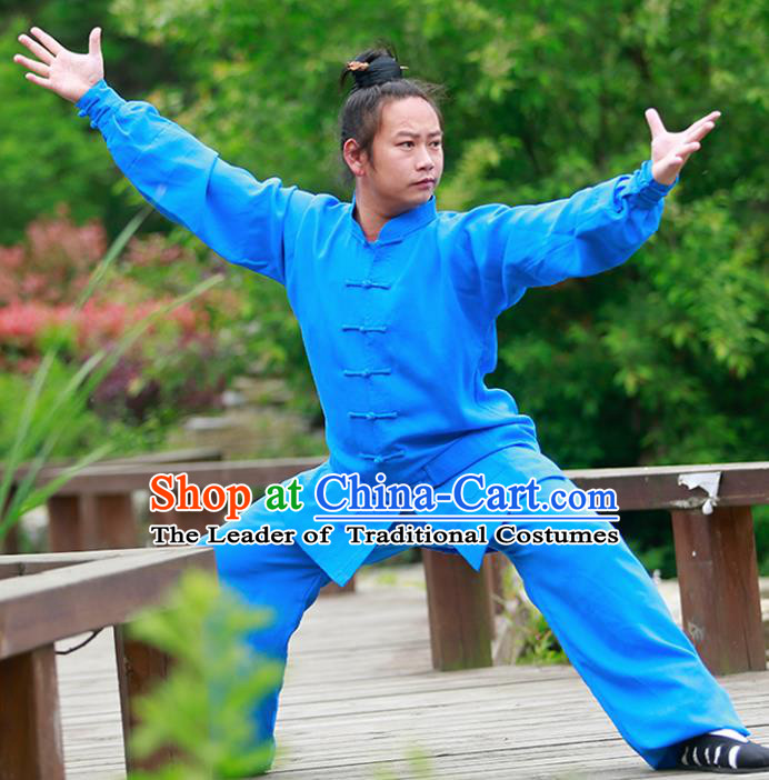Chinese Traditional Martial Arts Costume Tai Chi Kung Fu Blue Clothing for Men