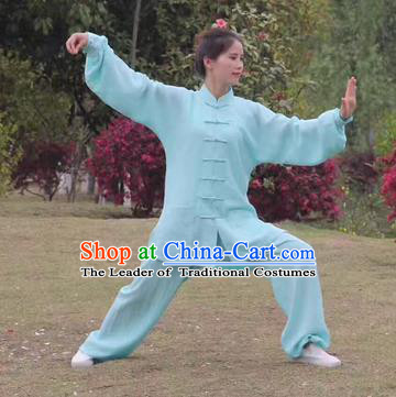 Chinese Traditional Martial Arts Costumes Tai Chi Kung Fu Light Green Suits for Women