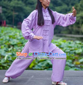 Chinese Traditional Martial Arts Costumes Tai Chi Kung Fu Lilac Suits for Women