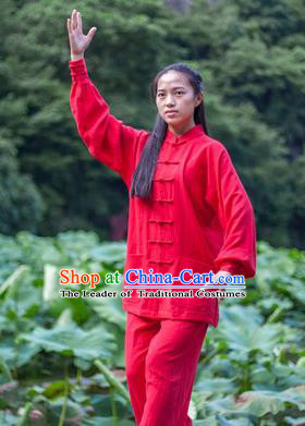 Chinese Traditional Martial Arts Costumes Tai Chi Kung Fu Red Suits for Women