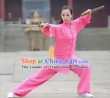 Chinese Traditional Martial Arts Costumes Tai Chi Kung Fu Pink Suits for Women