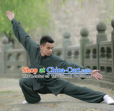 Chinese Traditional Martial Arts Costume Tai Chi Kung Fu Atrovirens Clothing for Men