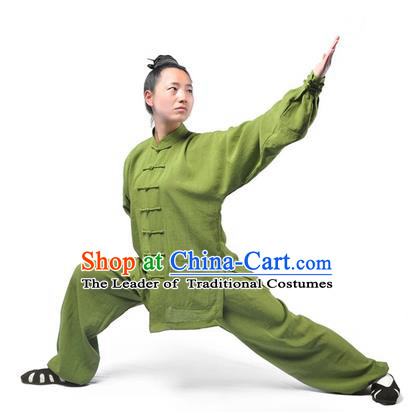 Chinese Traditional Martial Arts Costumes Tai Chi Kung Fu Green Suits for Women