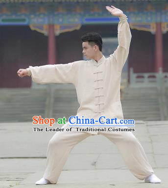 Chinese Traditional Martial Arts Costume Tai Chi Kung Fu Beige Clothing for Men