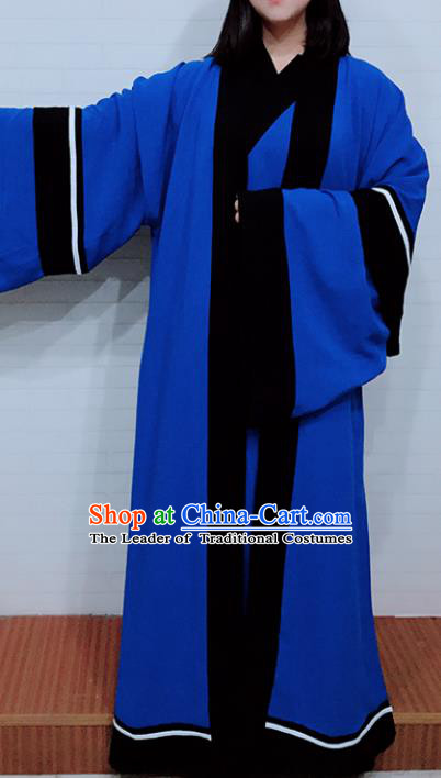 Chinese Traditional Martial Arts Costumes Tai Chi Kung Fu Blue Priest Frock for Women