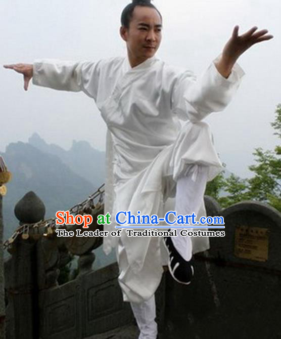 Chinese Traditional Martial Arts Costumes Tai Chi Clothing Taoist Kung Fu White Suits for Men