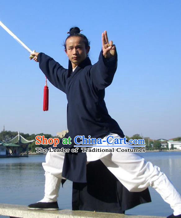 Chinese Traditional Martial Arts Costumes Tai Chi Clothing Taoist Kung Fu Navy Suits for Men