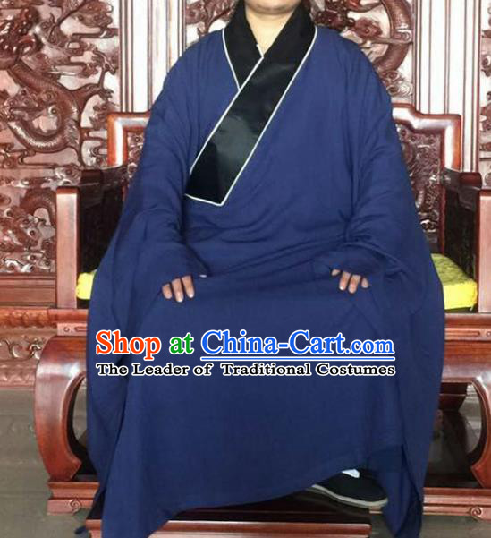 Chinese Traditional Martial Arts Costumes Tai Chi Taoist Kung Fu Navy Robe for Men