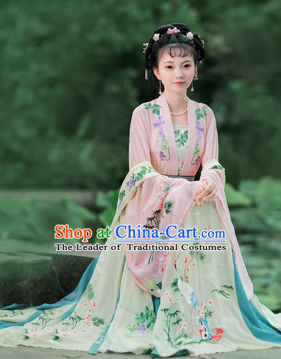 Chinese Ancient Song Dynasty Nobility Lady Embroidered Hanfu Dress Princess Costume for Women