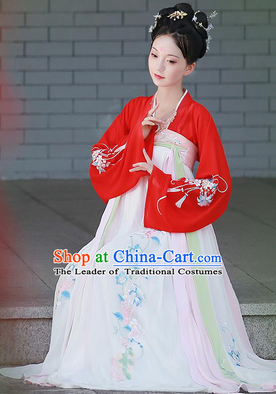 Chinese Ancient Tang Dynasty Palace Princess Embroidered Hanfu Dress Costume for Women