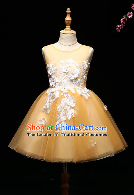 Children Modern Dance Costume Compere Full Dress Stage Piano Performance Princess Yellow Veil Dress for Kids