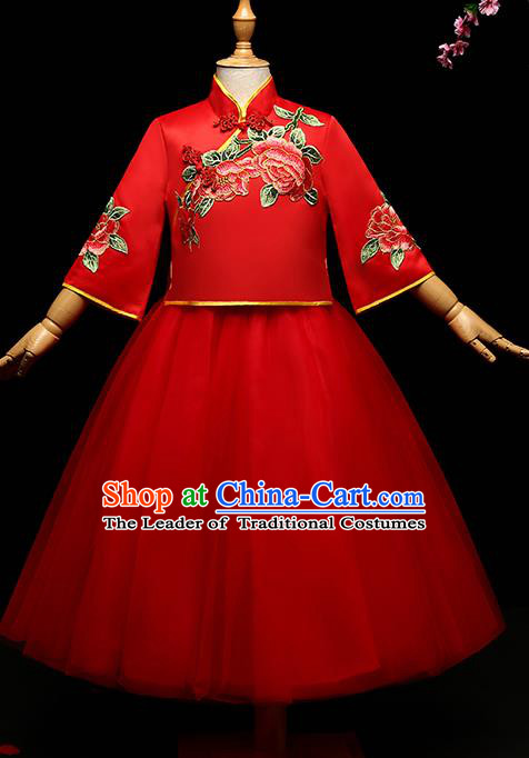 Children Modern Dance Costume Compere Full Dress Stage Performance Chorus Red Dress for Kids