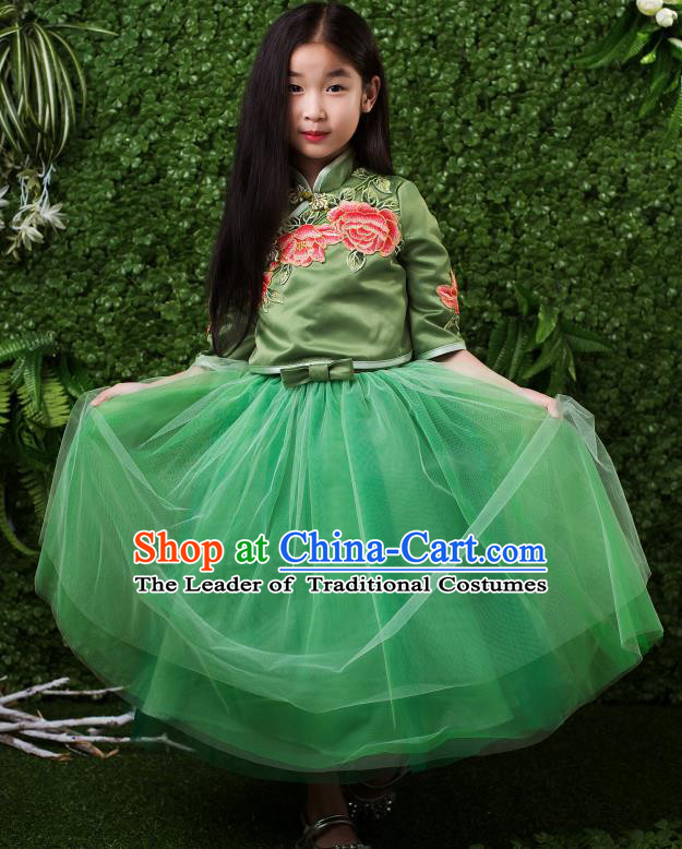Children Modern Dance Costume Compere Full Dress Stage Performance Chorus Green Dress for Kids