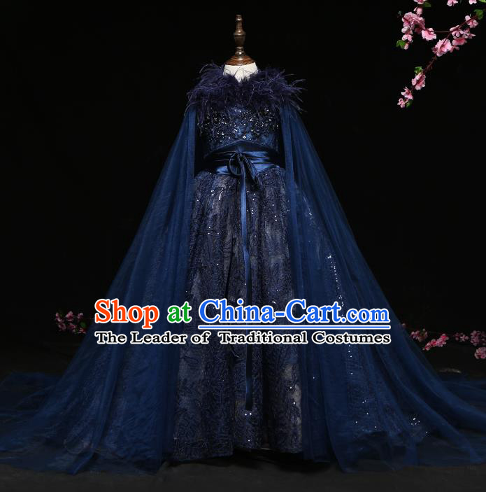 Children Modern Dance Costume Compere Navy Trailing Full Dress Stage Piano Performance Princess Dress for Kids