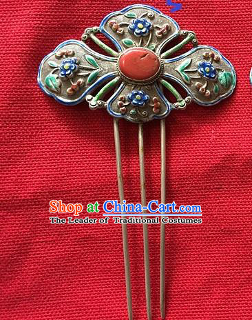 Chinese Traditional Ancient Enamel Coral Hairpins Hair Accessories Hair Clip for Women