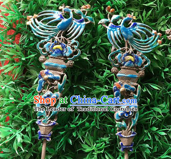 Chinese Traditional Ancient Enamel Phoenix Hairpins Hair Accessories Hair Clip for Women